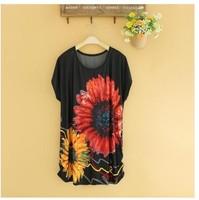 2014 HIGH Quality NEW Fashion Lady Printing Ice Silk Dress M L XL XXL XXXL 4xl 5xl 6xl fat women dress wholesaler dropship