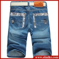 Men's fashion jeans shorts, slim fit straight leg tapered short trousers, men worn button cardigan jeans slim Denim Shorts C286