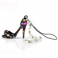 Free shipping 10 pcs Crystal High-heel Shoe Keychain Pearl Strand Pendant Rhinestone Mobile Phone Strap cellphone key ring