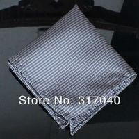 Free Shipping Marriage Hankerchiefs Men's Gray Stripes hanky /party hankies/pocket squares U06