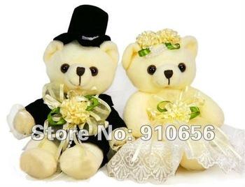 2013 Hot Wholesale 23cm Plush Couple bears wedding dresses Decoration Teddy bear 6 pair / lot +Free shipping wedding Gifts
