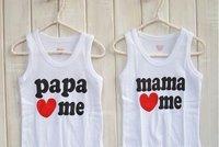 16 pcs/lot wholesale papa mama love me Children Clothing kids t shirt baby t-shirt  infant Tees children vest child t shirts