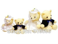 Wholesale 21cm Sweet Teddy Bears Wedding Decoration 4 pair / lot Couple Bears Plush toy Wedding Gifts Teddy bear+Free shipping