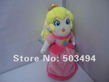 "Free Shipping EMS 200PCS/LOT Super Mario 8.6"" sit Princess Peach Plush Doll Wholesale Super mario Princess plush doll"