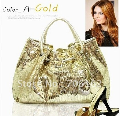 KOREAN Style Hobo PU Leather PARTY Sequin Spangle Decorative Tote Shoulder Bag Golden BB0058(China (Mainland))