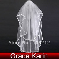 Free Shipping 1pcs/lot GK 2T Bride Bridal Wedding Cathedral Ribbon Edge Veil with Comb CL2631