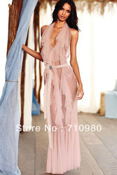 Cheap Price Pink Irregular Dress Draped patchwork Chiffon Long Dress For Women With Ribbon L07018(China (Mainland))