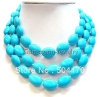 High Quality 50inch Lenght 13*18mm Turquoise Beads Necklace Simple Fashion Beads Necklace TN083