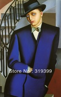 Oil Painting Reproduction,The Marquis D'Afflitto on a Staircase by Lempicka ,Free Ship by DHL/FEDEX,100% Save Guarantee (TDL012)