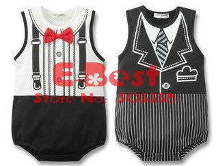 [E-Best] Wholesale 3pcs/lot baby boys short sleeves rompers gentleman ties design jumpsuits white/black E-SRW-009