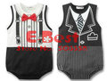 [E-Best] Wholesale 3pcs/lot baby boys short sleeves rompers gentleman ties design jumpsuits white/black E-SRW-009
