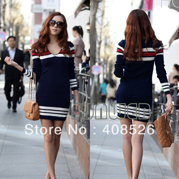 Hot Fashion sexy Women's Lady Winter Fashion Casual Long Sleeve Wool stripe V-Neck Dress Tops Mini Blue free shipping 2862
