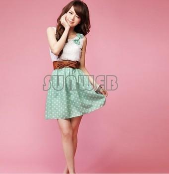 New Korean Fashion Style Polka Dot Dress Sweet Lovely Mini Dress Orange/Green Chiffon + Lace Top free shipping 3607