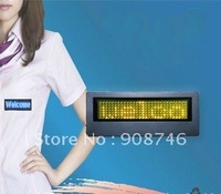 Free shipping yellow color 7*29 pixels programmable battery built-in led mini display badge 5pcs/lot
