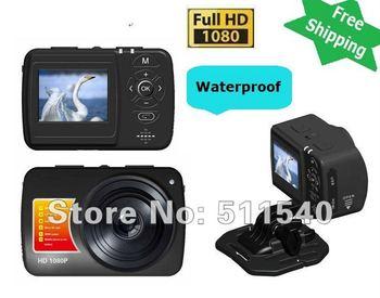 "Free shipping NEWEST Outdoor 1.5"" TFT Display  5.0M CMOS Waterproof Helmet Full HD 1080P Sports Camera Camera Mini DV Camcorder"