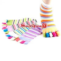 Toe Socks 6 pairs (Fits Ages 13+)(Assorted Colors)  Cotton Striped Socks Woman's Healthy Socks Five Styles  Free Shipping