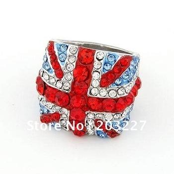 Fashion Jewelry British Flag Alloy Colorful Rhinestone Rings Union Jack Crystal Ring,London union jack Olympic souvenirs Rings