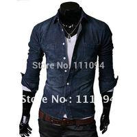 men's clothing base men slim jean shirt,men's long-sleeved jean shirt,two colors,size:M-L-XL-XXL, N02