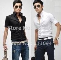 Men's clothing base man's short sleeve shirt,three color,purple,black,white, M,L,XL,XXL
