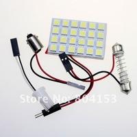 Free shiiping 20sets/lot 24 SMD Car LED Interior Panel Light Lamp White LED Bulbs 5050