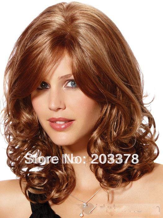 Sexy Medium Auburn With Highlights Curly High Qualtiy