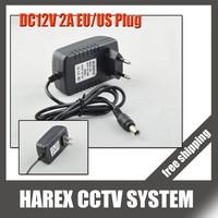 DC 12V 2A Power Supply Adaptor 12V Security professional Converter EU / US Adapter For CCTV Camera CCTV system , free shipping