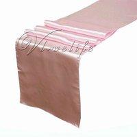 "Free shipping Pink Satin Table Runner 12"" x 108"" Wedding Decor"