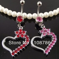 10pcs free shipping Stock---navel ,Belly ring,Navel jewelry LOVE colorful heart belly ring Rhinestone animal belly ring