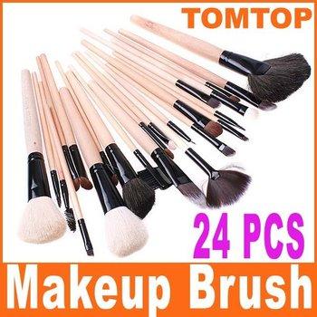 24PCS/SET  Makeup brushes Facial Makeup Brush Set +Black Leather case  Foldable Pouch Bag Free shipping wholesale
