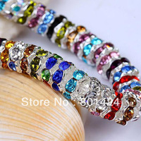 silver plated rhinestone wave  rondelles DIY  beads mixed colours making for jewelry 6mm  free shipping 100pcs 58-247