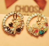 Big Promotion 11.11  Fashion Ladies Colorful Stone Flying Angel Stud  Earrings,Wedding Earring
