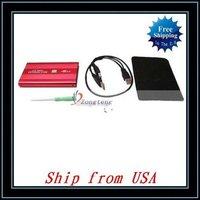 "Free Shipping + Wholesale 10pcs/lot 2.5"" Red USB 2.0 SATA HDD Hard Drive Enclosure Case Ship from USA-NTS02RE"