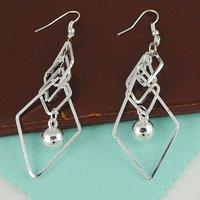 E1221 Fashion multilayer square earrings grain silver clips Free Shipping
