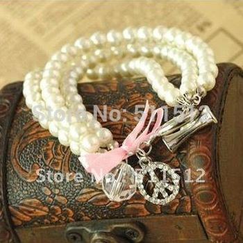 Peace sign Fshion three-tier Pearl elegant lady bracelets Min.order $15 mix order BR78033