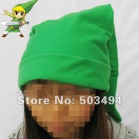 Free shipping 200PCS Zelda Link Green Cosplay Hat Cotton Plush Caps