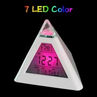 Retail 1pcs Glowing 7 Color LED Change Pyramid Thermometer Clock Digital Alarm Clock