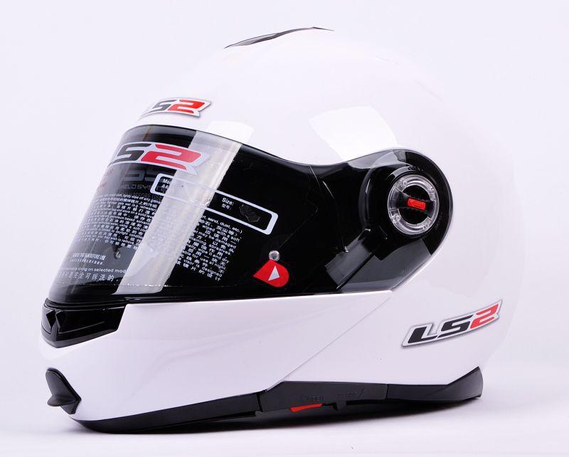 freeshipping capacete LS2 FF386 White Full Face motorcycles helmet Moudular Flip Up Dual lens Motorcross Helmets(China (Mainland))