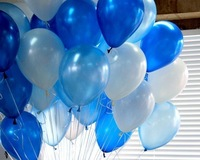 "Shipping Free--Germany 10"" advertising natural latex pearl white&blue&light blue balloon 100pcs/pack"