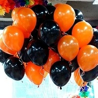 Shipping Free--NEO 10''  Black and Orange Helium Balloons for Halloween 100pcs