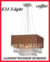 Hot sale Elegant 3-Light Fabric Crystal Chandelier/pendant light CD4036, L650MM*W650MM*H180MM,suspention wire H110MM