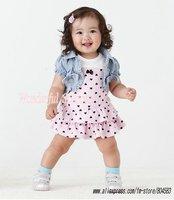 5set/lot,Wholesale!New 2014 summer Baby girl casual clothing set(vest+dress),cute princess summer suit, children's clothing