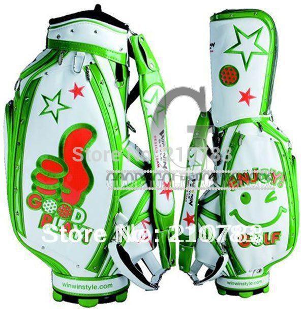 Golf bags WinWin JAPAN PLAY STAFF CADDY Golf cart bag White/Green Free Shipping(China (Mainland))