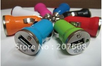 2000pcs/lot Mini Bullet Colorful Car Charger Adapter for Ipod for Iphone 4G 3GS 3G 2G Cell Phone Mp3 Mp4 Mp5