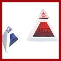 Mini  Pyramid Descktop Lcd Screen Digital Alarm Clock  LED Mood Light Growing Color Change