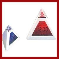 Mini  Pyramid Descktop Lcd Screen Digital Alarm Clock  LED Mood Light Growing Color Change