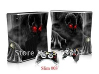 Sticker for Xbox 360 slim console and controler, for xbox 360 slim skin protector, accept mix designs, OPP bag packing