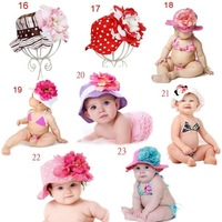 3 pcs / lot New Arrival Free Shipping doomagic baby girls summer hats / baby flower sun hat