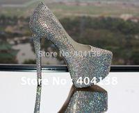 14cm 16cm Heel Diamond Crystal jewel hight heel women Pumps Daffodil heel platforms rhinestone shoes size 34-42