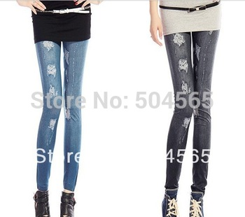 Drop shipping LG-384 New Fashion Holes Printed Leggings Women's Imitated Jeans Pants Casual Legging Trousers jeggings Blue Black