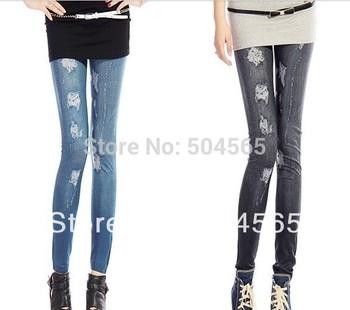 LG-384 New Fashion Holes Printed Leggings Women's Imitated Jeans Pants Casual Legging Trousers jeggings Blue Black